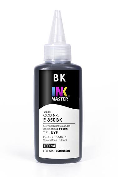 Cerneala profesionala Inkmaster E850BK, Negru, compatibila Epson L800, L805, L810, L850, L1800, 1500W, P50 0