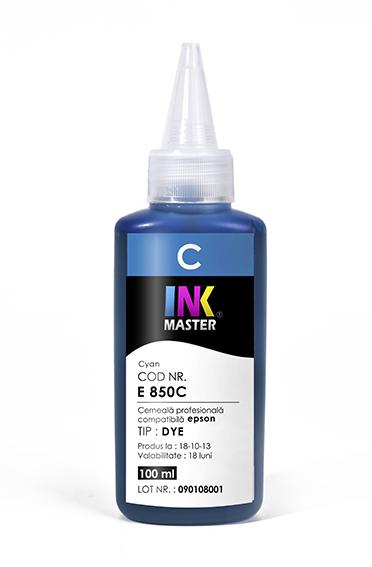 Cerneala profesionala Inkmaster E850C, Cyan, compatibila Epson L800, L805, L810, L850, L1800, 1500W, P50 0