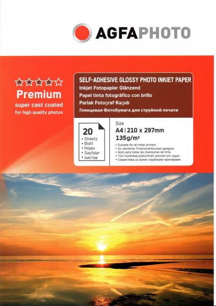 Hartie foto autoadeziva Agfa, 135g/m2, glossy, 20 coli 0