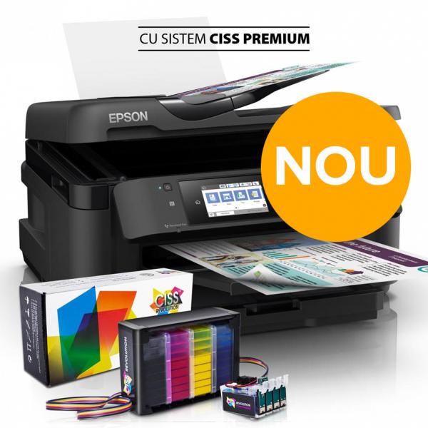 Imprimanta multifunctionala EPSON WORKFORCE WF 7710 DWF, A3, sistem CISS Premium fara resetare, cerneala DYE 0