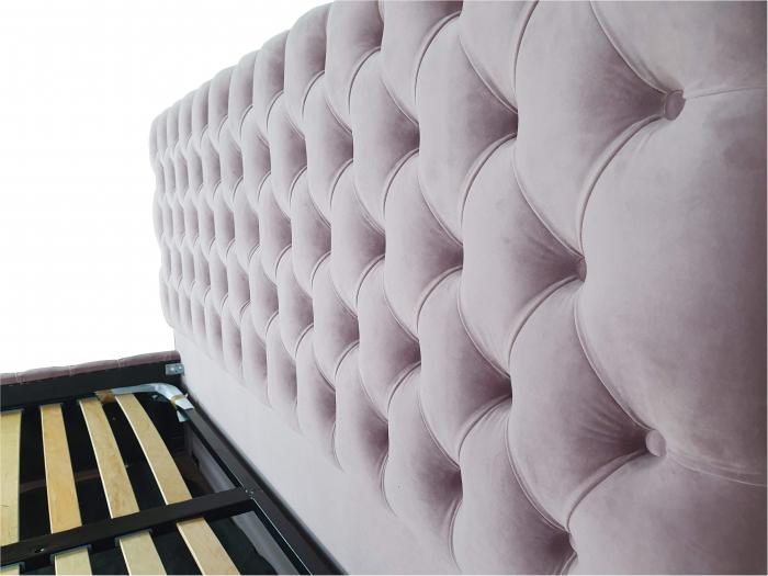 Pat tapitat Kirra Select,140x200cm,somiera metalica rabatabila,spatiu depozitare,roz [2]