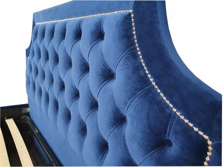 Pat tapitat Classmob Oslo, 160x200cm,somiera metalica rabatabila,lada depozitare,albastru [2]