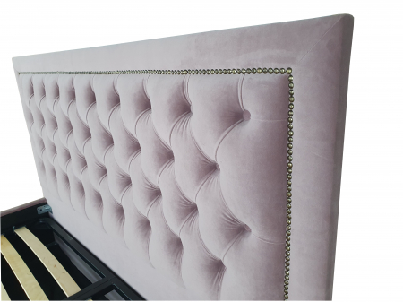 Pat tapitat Classmob Roma, 160x200cm,somiera metalica rabatabila,lada depozitare,roz [2]