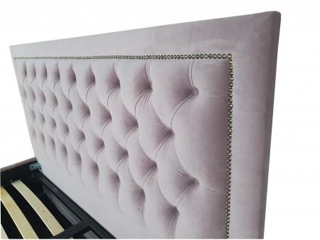 Pat tapitat Classmob Roma, 180x200cm,somiera metalica rabatabila,lada depozitare,roz [2]