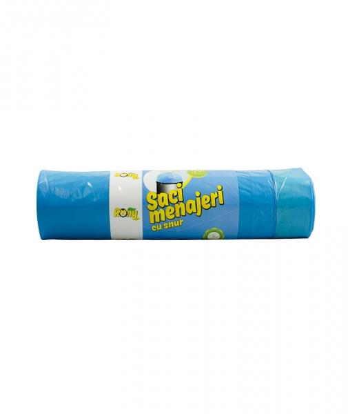 Saci menaj 120 L, 10 buc, albastri, cu snur, super rezistenti, LDPE 0