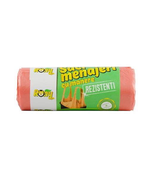 Saci menaj 35 L, 15 buc, portocalii, cu manere  rezistenti, HDPE [0]