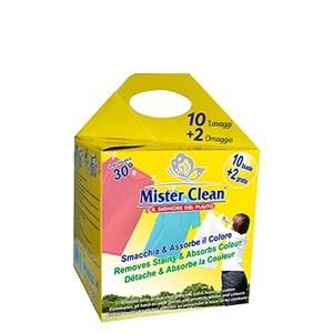 Indepartare pete & captare culoare, aditiv spalare Mister Clean, 12 buc 0