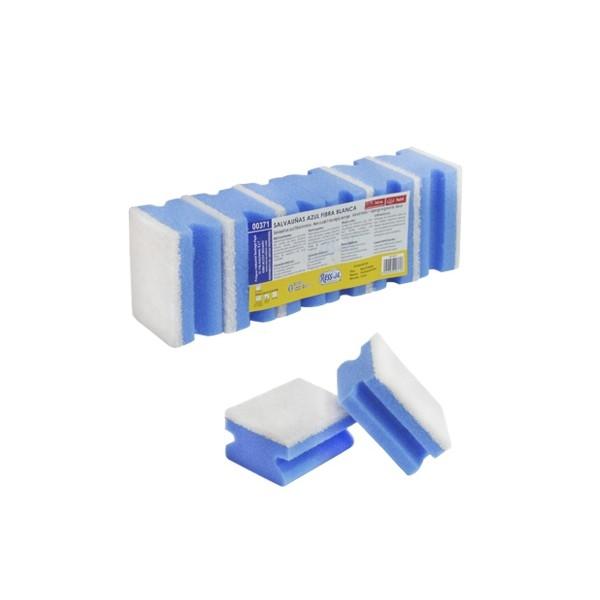 Burete canelat albastru fibra abraziva non-scratch, 6 buc/set 0