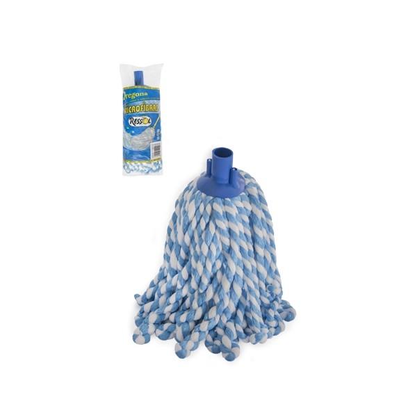 Mop microfibra bicolor, fir gros rasucit, albastru 0