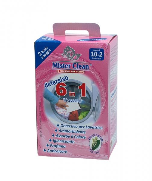 Aditiv spalare si captare culoare cu balsam 6 in 1 pentru rufe Mister Clean, 12 Buc 0