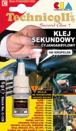 Super Glue cianoacrilat, Technicqll, 5 g, TE C-129 5 G 0