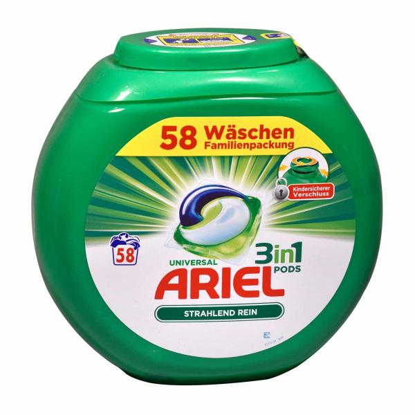 Ariel Detergent capsule 3 in 1 Pods Regular, Family pack , 58 spalari - import Germania 1