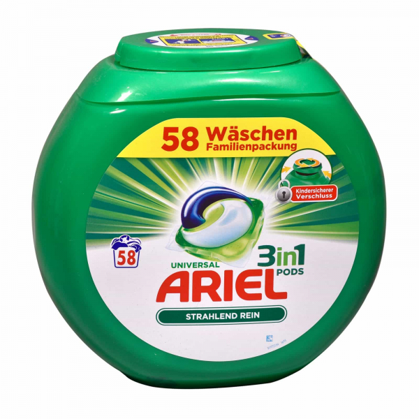 Ariel Detergent capsule 3 in 1 Pods Regular, Family pack , 58 spalari - import Germania 0