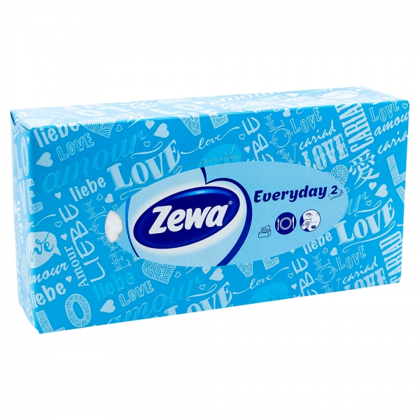 Batiste faciale Zewa Everyday 2, albastru, 100 buc/set, 2 straturi