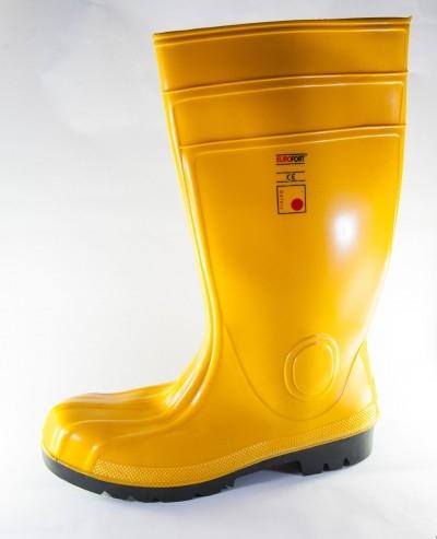 Cizme protectie PVC, galben/kaki, bombeu metalic si lamela antiperforatie 0