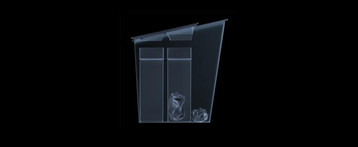 Cos gunoi colectare selectiva cu 3 compartimente, capac glisant albastru, 30 L [3]