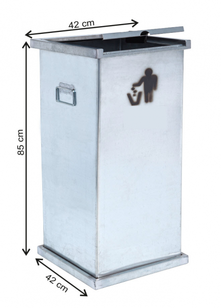Cos colectare selectiva cu capac, metalic, 150 L [0]