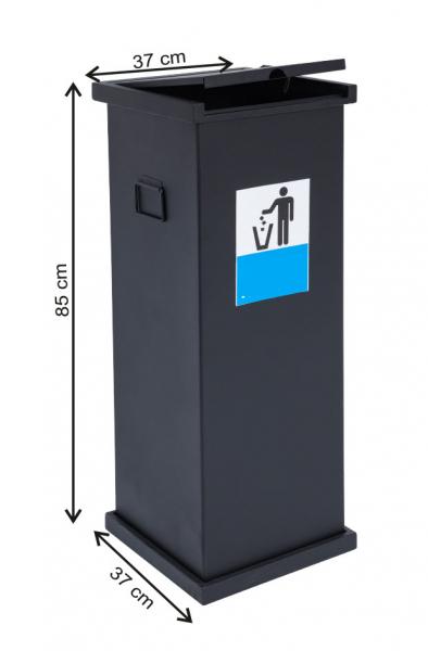 Cos colectare selectiva cu capac, metalic, 115 L 0