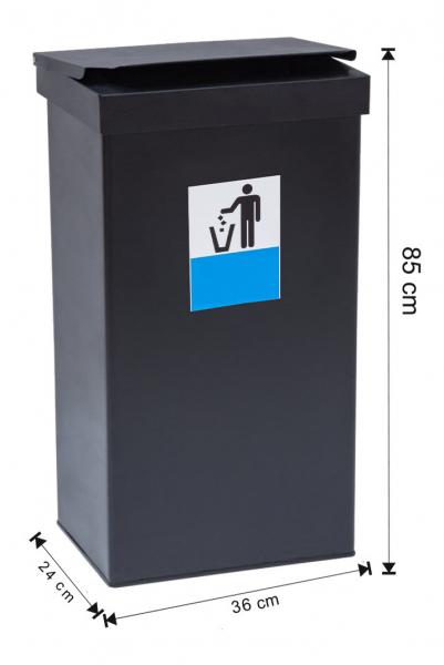 Cos colectare selectiva cu capac, metalic, 70 L [0]