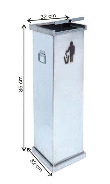 Cos colectare selectiva cu capac, metalic, 87 L 0