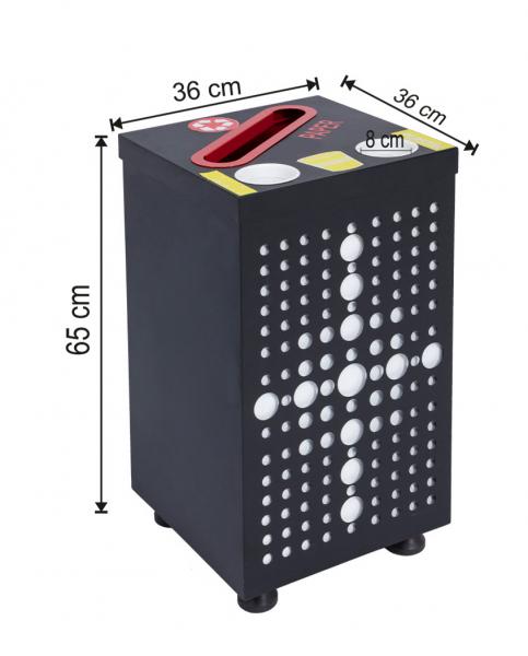 Cos colectare selectiva cu 2 sectiuni, metalic, 84 L 0