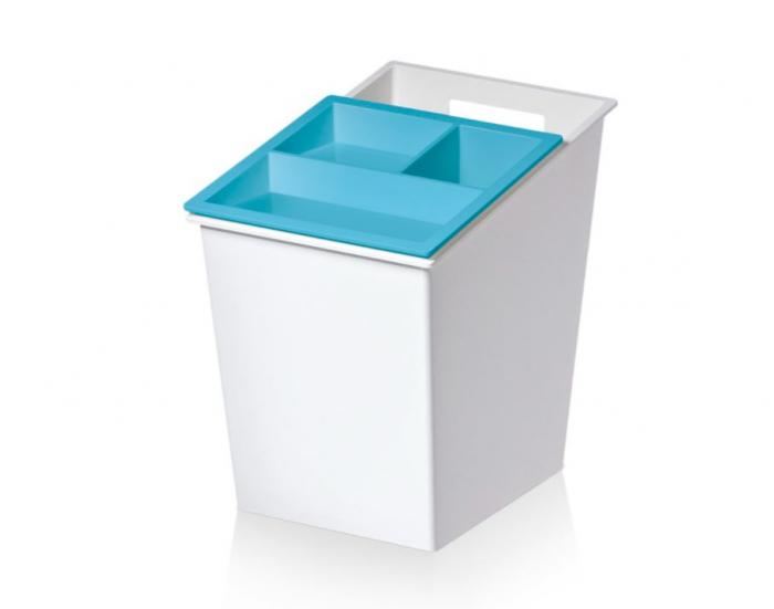 Cos gunoi colectare selectiva cu 3 compartimente, capac glisant albastru, 30 L [0]