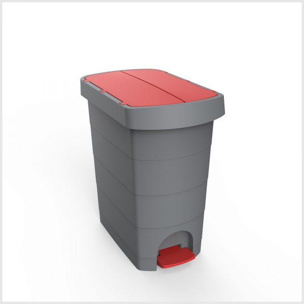Cos gunoi cu pedala si galeata interioara, CEX SLIM, 60 l, rosu 0