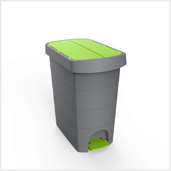 Cos gunoi cu pedala si  galeata interioara, CEX SLIM, 60 l, verde 0