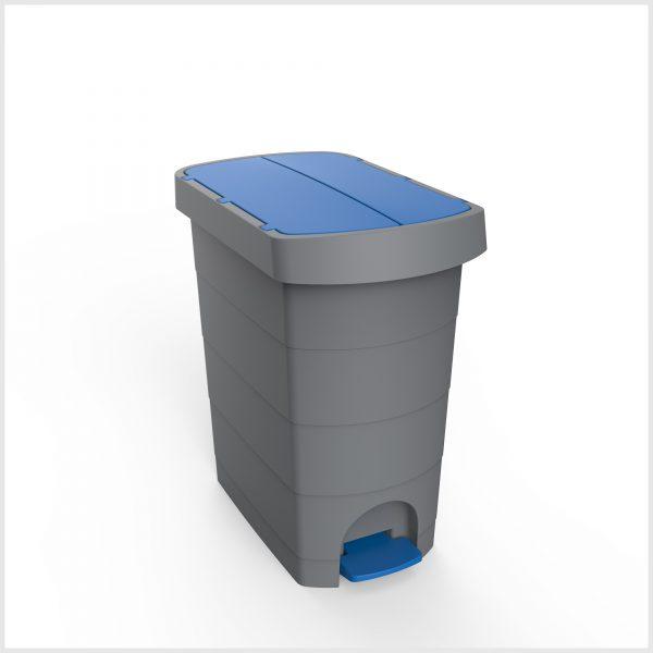 Cos gunoi cu pedala, CEX SLIM, 20 l, galeata interioara, albastru 0