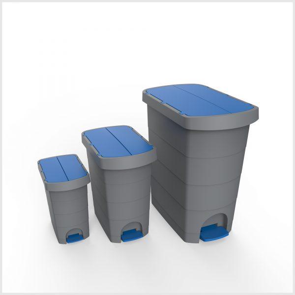 Cos gunoi cu pedala, CEX SLIM, 20 l, galeata interioara, albastru 2
