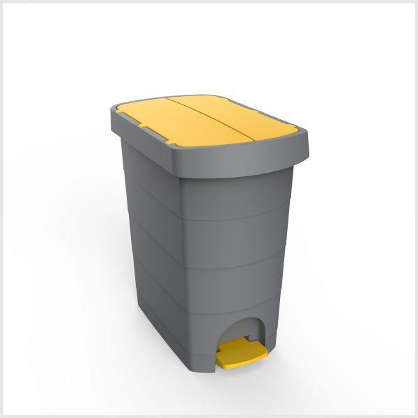Cos gunoi cu pedala, CEX SLIM, 20 l, galeata interioara, galben 0