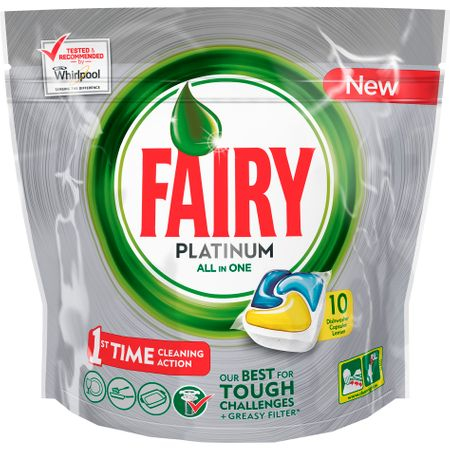 Detergent de vase capsule Fairy Platinum All in One, 10 capsule 0