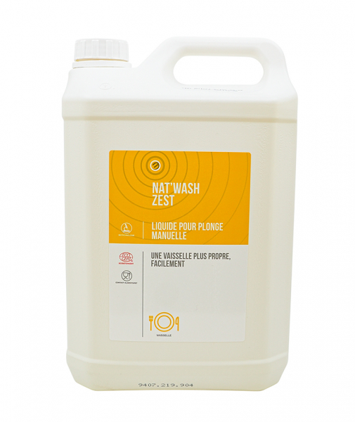 Detergent lichid pentru spalare manuala, NAT WASH ZEST - CERTIFICAT ECOCERT, 5 L 0