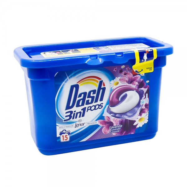 Detergent rufe capsule Dash 3 in 1, Lavanda & Lenor, 15 spalari [0]