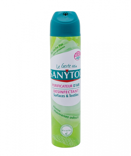 Dezodorizant spray si dezinfectant textile, Sanytol menta, 300ml 0