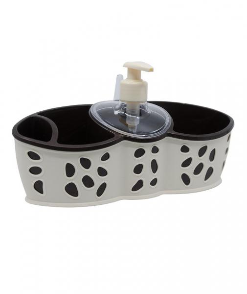 Dispenser detergent vase si suport bureti, Crem, Rock 0
