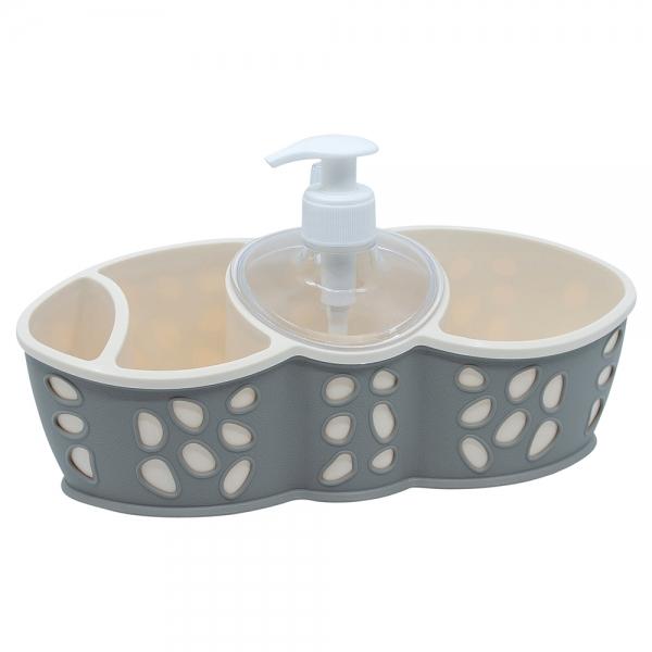 Dispenser detergent vase si suport bureti, gri, Rock 0
