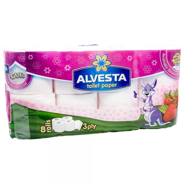 Hartie igienica Alvesta, 3 straturi, 8 role, Aromatic Strawberry 0