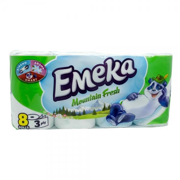 Hartie igienica Emeka, 3 straturi, 8 role, Mountain Fresh 0