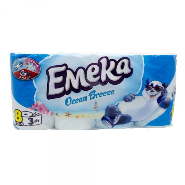 Hartie igienica Emeka, 3 straturi, 8 role, Ocean Breeze 0