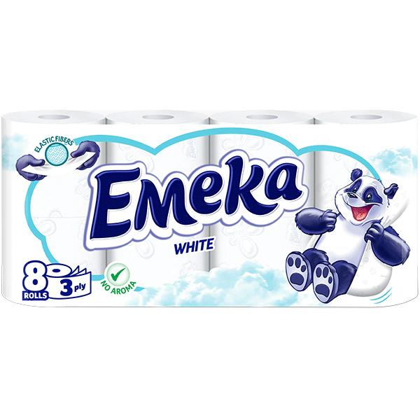 Hartie igienica Emeka, 3 straturi, 8 role, White 0