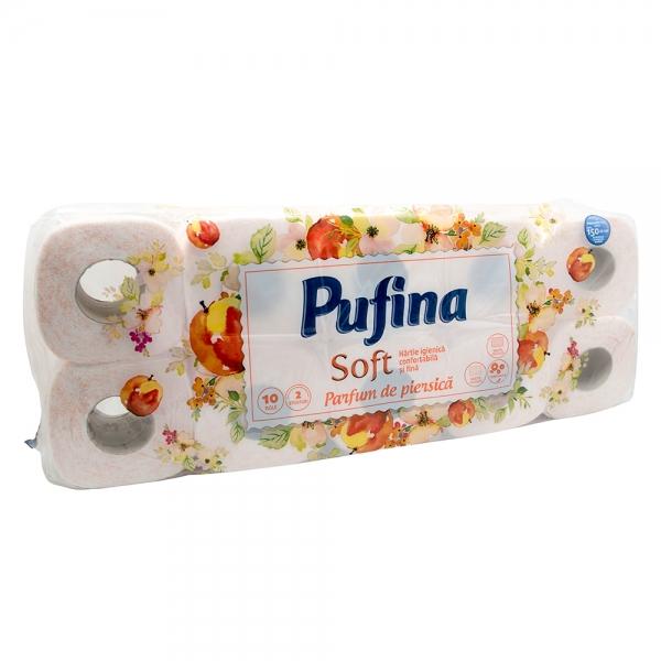 Hartie igienica Pufina Soft, Piersica, 2 straturi, 10 role 0