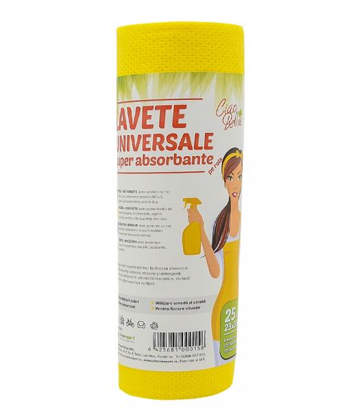Lavete universale pe rola, Ciao Bella, 25 buc pe rola, galben [6]