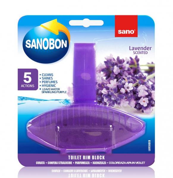Odorizant solid pentru vasul toaletei, Sano Bon Lavanda, 55g [0]