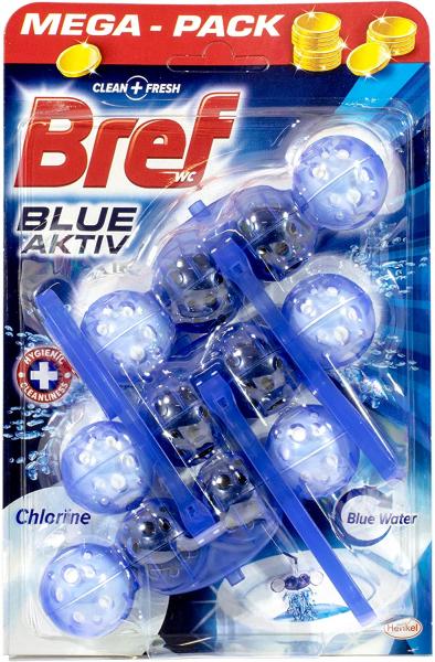 Odorizant toaleta Bref Power Aktiv Blue Chlorine, 3x50 g 0