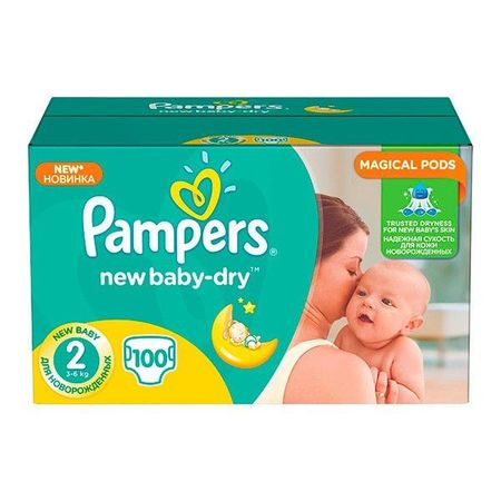 Pampers New Baby-Dry, nr. 2 , scutece, 100 buc 0