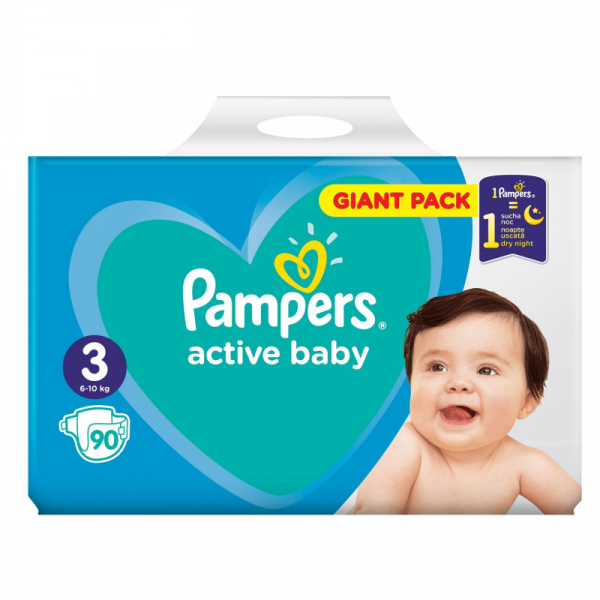 Pampers Active Baby Giant Pack nr. 3 , scutece, 90 buc [0]