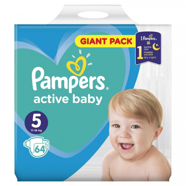 Pampers Active Baby Giant Pack nr. 5 , scutece, 64 buc 0