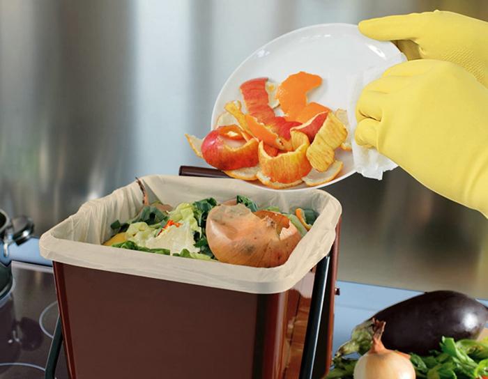 Recipient colectare deseuri biodegradabile, maro, 7 L [1]