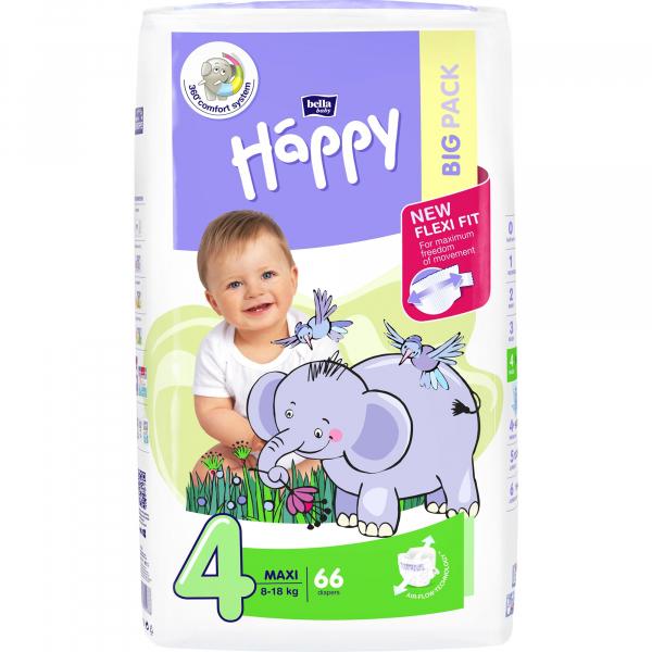 Scutece Happy nr. 4, Maxi, Big Pack, 66 buc 0